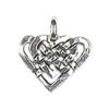 Pendant Knotted Heart Antique Silver